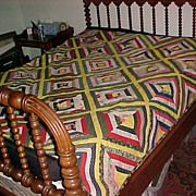 "Vintage Quilt ""Log Cabin"" Hand Made from Shenandoah"