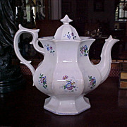 Large 19c. English soft paste Teapot Gothic Revival