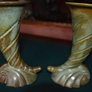 "Art Deco style Vintage Francoma Pottery Vases pair 7"" Plainsman-green"