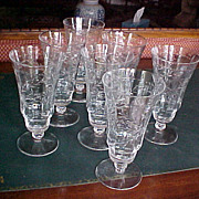 Set (7) cut crystal short stem goblets 1930-40 starburst design