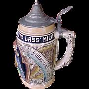 Vintage stoneware German lidded stein tankard