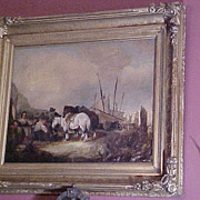 Oil Landscape w/Figures Boats Horses Student Wm. Shayer Brit. (1787-1879)