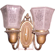 Regency style brass sconce etched shades 1920