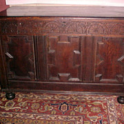 English Jacobean Period Oak Coffer C. 1625