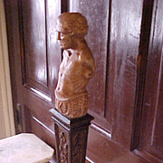 Statue Carved Oak Sculpture male figure on plinth