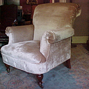 English Victorian Style Silk Velvet Upholstered Gentleman's Easy Chair