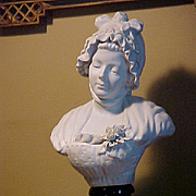 Large Bisque Porcelain Bust of young girl after J.B. Greuze