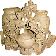 Carved Steatite Chinese Brush Holder/washer triple vessel Peacock