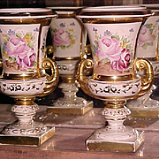 Fancy Old Paris Urns 19th Century Hand Painted Porcelain