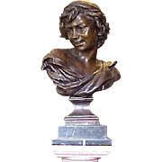 "Antique French Bronze Bust ""Pecheur Neapolitain"" after J. Bapt. Carpeaux"