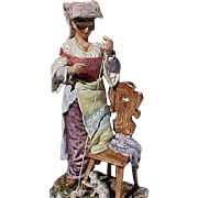 "19th Century Majolica Figure Italian Woman Playing With Cat 14"""