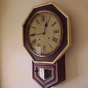 "Octagon Regulator Wall Clock E. N. Welch C. 1890 Rosewood large ""public"" dial"