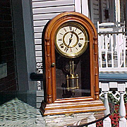 Round Top Connecticut Shelf Clock Bell Strike  Atkins C. 1870