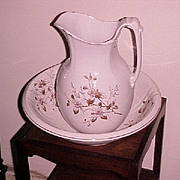 "English Ironstone Pitcher & Bowl Edwards Bros. ""Prunella"" C.1890"
