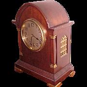 Bracket Clock Large Gothic Mahogany Waterbury 1914 Westminister Chimes
