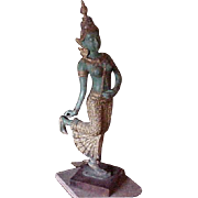 Bronze Thai Sculpture Dancer 19th C. w/ antiques export seal, tag
