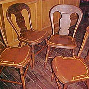 Antique Balloon-Back Stencil Painted Cottage Chairs Set (4) C. 1850