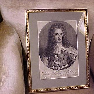 Antique English Mezzotint Engraving King William III C.1680