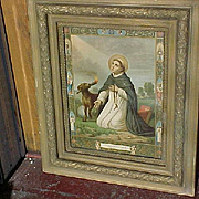 Saint Dominic C. 1880 Chromolithograph, Original Frame, Colorful Evocative Portrayal of one of the Giants of Catholicism!