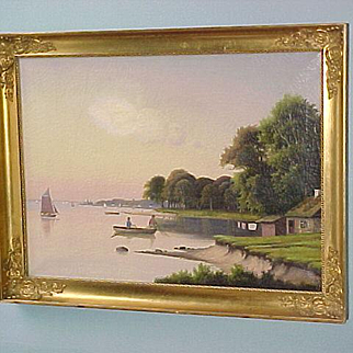 19th Century Oil On Canvas Danish Marine Scene