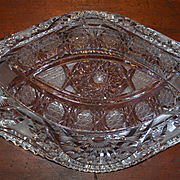 "Cut Glass Oval Bowl 13"" ABP Intricate & Perfect"