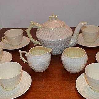 "15 Piece Irish Belleek ""Limpet Pattern"" Tea Set"