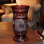 Large Signed Vase Ruby Bohemian Fancy 19. C.