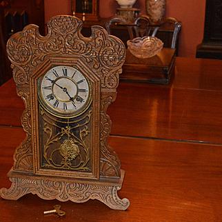 Waterbury Gingerbread Mantel (Seaford) Walnut Kitchen Clock 1888