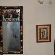 Large Antique Split Column Reverse Painted Mirror C. 1830