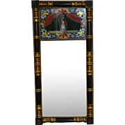 Large Antique Split Column Reverse Painted Mirror C. 1830