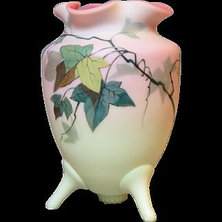 Thomas Webb & Sons Decorated Burmese Vase Victorian Art Glass