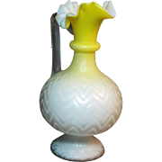 Victorian era Mother of Pearl glass ewer yellow Chevron pattern