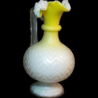 Victorian era Mother of Pearl glass ewer yellow Chevron pattern