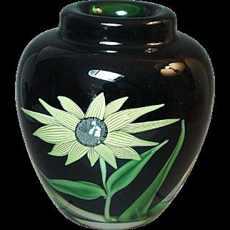 Art Glass Orient & Flume Sunflower Paperweight Vase 1984