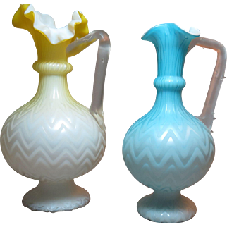 Victorian era mother of pearl glass ewer applied handle
