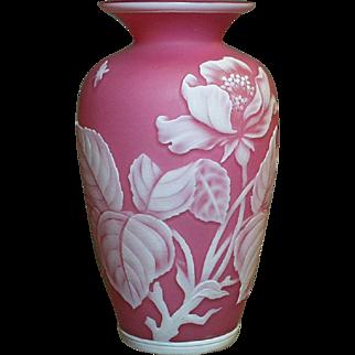 English Cameo Art Glass Vase Stevens & Williams