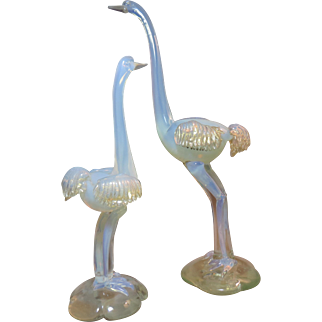 Vintage Venetian Art Glass Ostriches Opalescent Glass with Gold Foil Two Pieces
