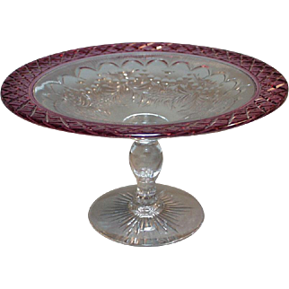 Pairpoint Compote Cranberry Cut to Clear Rim
