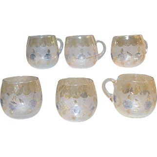 Pomona New England Glass Works Set of 6 Custard Cups