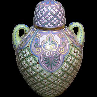 English Opaline Glass Lidded Ginger Jar Enamel Decoration
