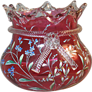 Victorian Cranberry Glass Vase Enamel Decoration