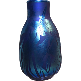 Orient & Flume Blue Iridescent Vase Acid Cut Back Decoration