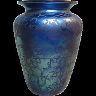 Orient & Flume Blue Iridescent Vase Studio Collection Piece Acid Cut Back