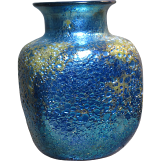 Orient and Flume Blue Iridescent Cypriot Cabinet Vase