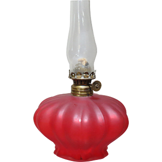 Miniature Ruby Satin Glass Oil Lamp