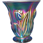 Fenton Emerald Marigold Carnival Glass Vase