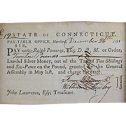1781 Connecticut Manuscript payment voucher