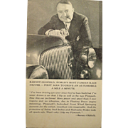 Post Card of Barney Oldfield, First man to drive an auto a mile a minute