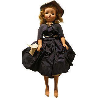 "Cissy Doll 1955 Madame Alexander 2084 20"" Navy Taffeta Dress W/Tag"