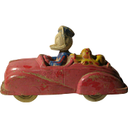 Disney Vintage Donald Duck and Pluto Sun Rubber Car